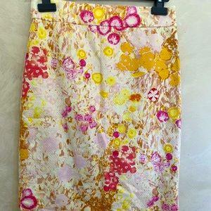 J Crew Floral Pencil Skirt Size 2 ( 8)
